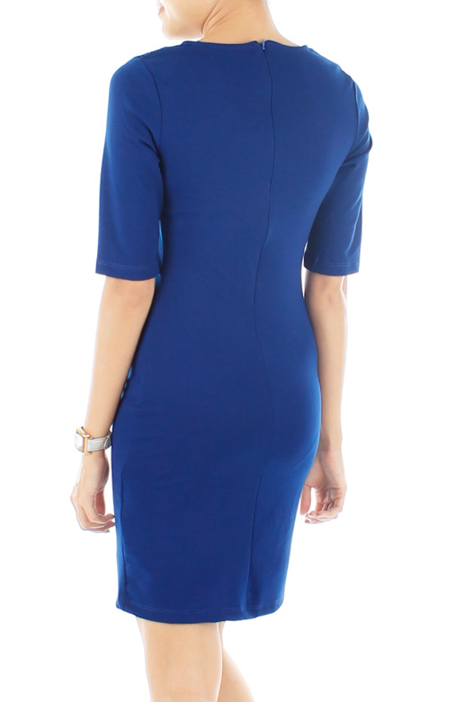 Sweetheart Perforated Dress – Monaco Blue