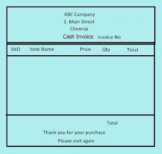 sample cash invoice, karkandu, tamil programming guide
