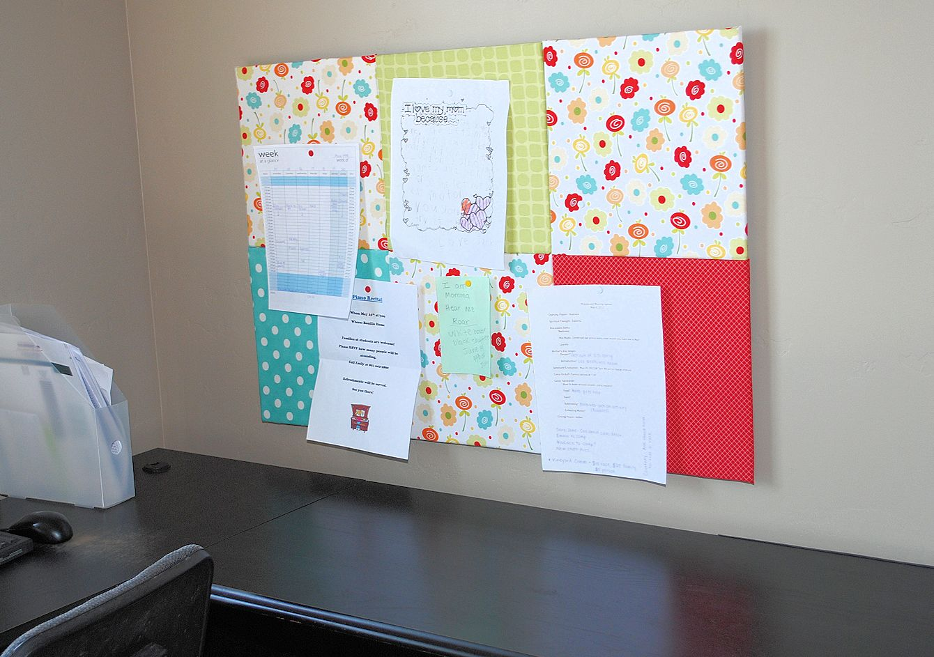 Fabric covered bulletin board crazy little projects for Diy fabric bulletin board ideas
