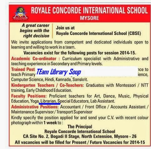 Library Soup : Librarian Vacancy at Royale Concorde ...