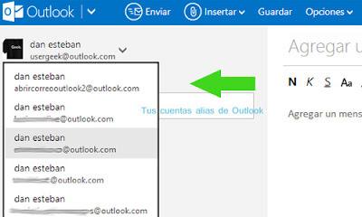 cuentas alias outlook correo