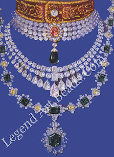 Three necklaces by the Indian jewellery designer, Ambaji Shinde, 1944-49. The choker and the Art Deco necklace, which showcases a rare hexagonal emerald, were created for a maharaja. The diamond necklace, which features a pear-shaped pink diamond and four emerald-cut blue diamonds, was for a maharani.