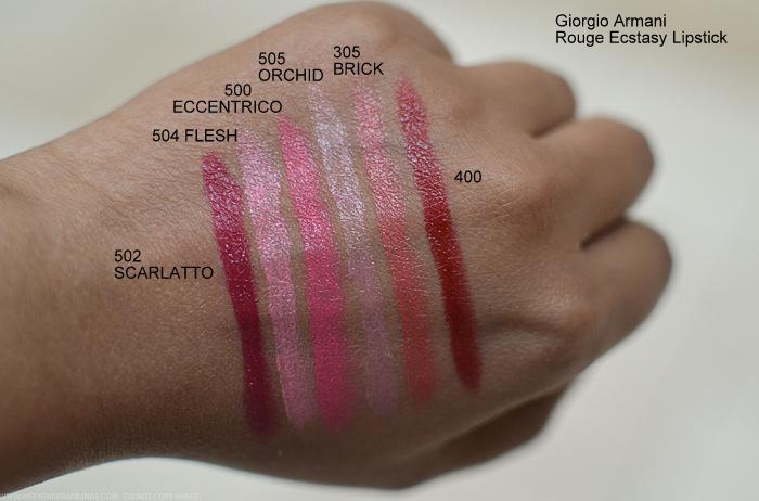 Giorgio Armani Rouge Ecstasy Lipstick Swatches 502 Scarlatto 540 Flesh 500 Eccentrico 505 Orchid 305 Brick 400