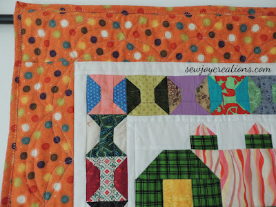 closeup of corner quilting on Quilty Barns quilt