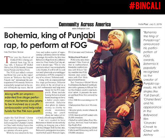 BOHEMIA Live in California at SAP Center - Aug 15 2015 - punjabi rap star