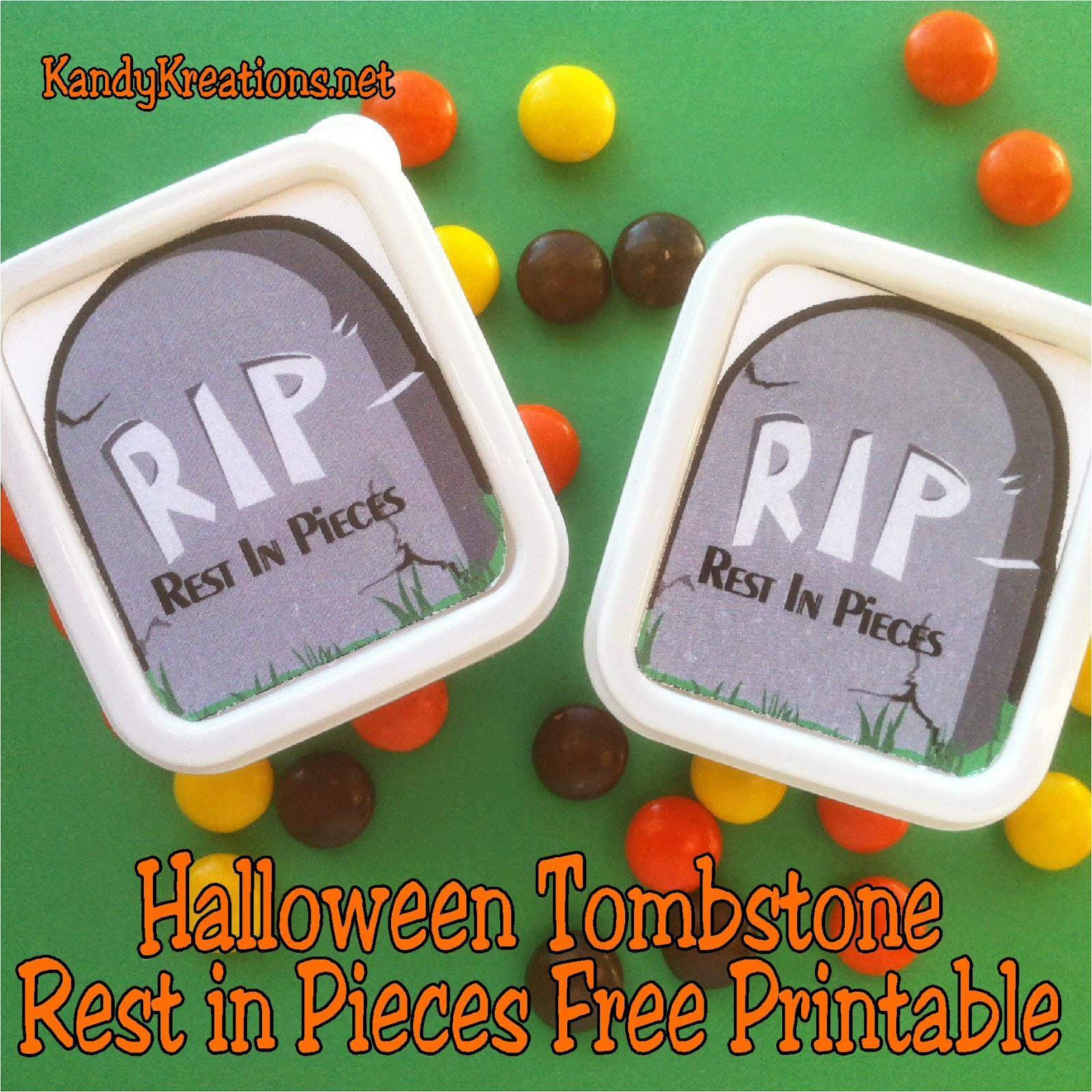 Celebrate with all your ghouls this Halloween using this Rest in Pieces candy box free printable.   You won't mind visiting your Halloween Tombstone when it's filled with Reeses Pieces candies and is so cheap and easy to make.