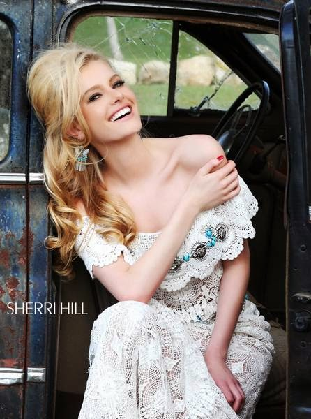 Sherri Hill two-piece crochet lace dress with turquoise beading