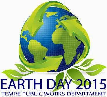 Image of Tempe Public Works Department Earth Day logo: globe surrounded by green arrows and flora