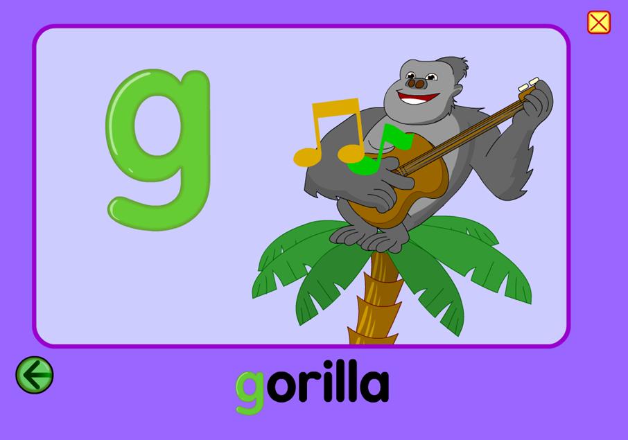 Starfall Phonics G gorilla