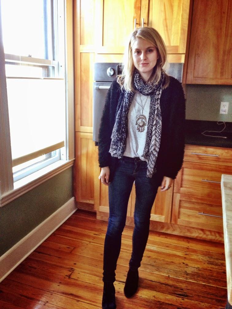 Ankle skinny jeans fuzzy sweater boho