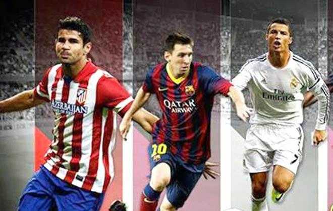 Diego Costa, Leonel Messi, Cristiano Ronaldo