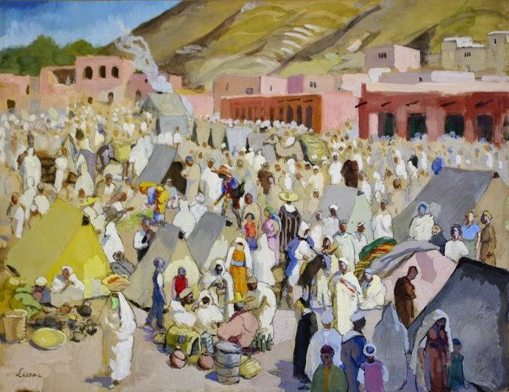 Le souq d'Imintanout en 1952 Gouache de Pierre Lissac