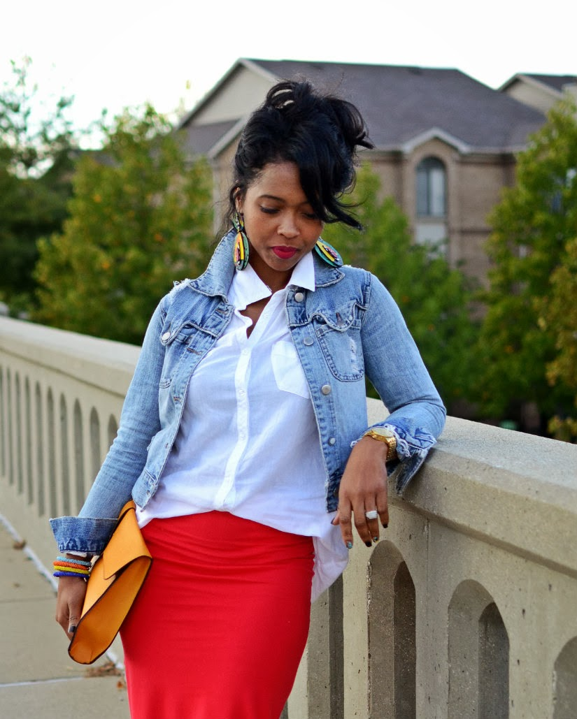 Red Skirt/ Jean Jacket