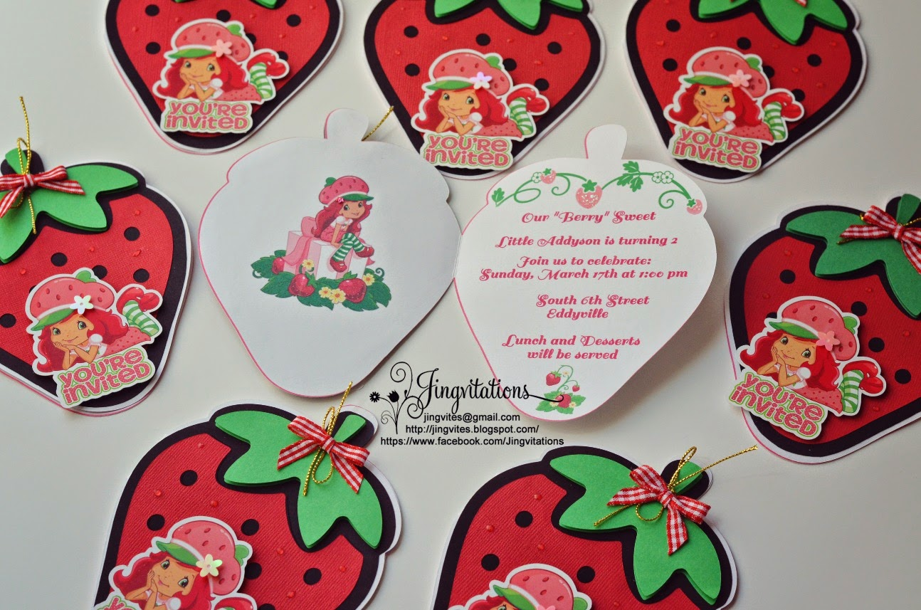 Jingvitations Strawberry Shortcake Birthday Party Invitations
