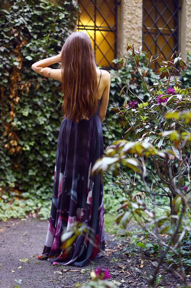 maxi purple floral dress