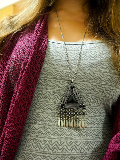 Geometry | outfit jewellery details of black and silver geometric tribal pendant necklace, with grey patterned top