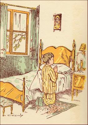 ilustraciones retro niño rezando