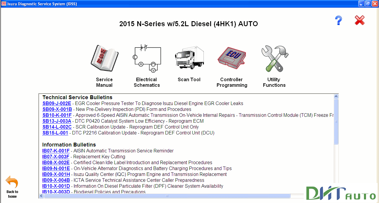 Isuzu Diagnostic Service System Idss Ii 2015 Heavy Equipment Komatsu Pc75uu 1 Wiring Diagram View Electrical Shematics Bulletins 1984 2014 Use Scan Tool For And Controller Programming