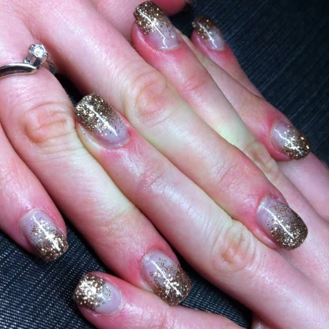 black acrylics with gold hazing nail art polish paint design