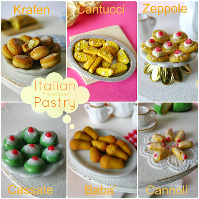 pasticceria italiana in miniatura •  miniature italian pastry..