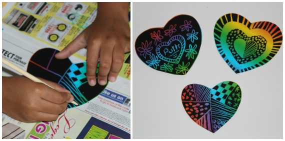 Valentine Kids craft Scratch heART