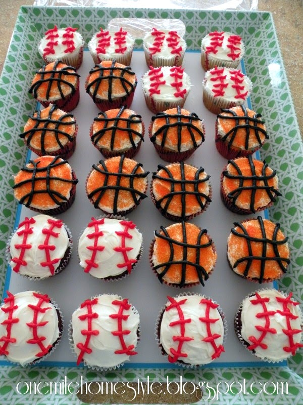Sports Theme Birthday Party - Baseball and Basketball Cupcakes