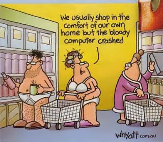 people shopping at store in underwear