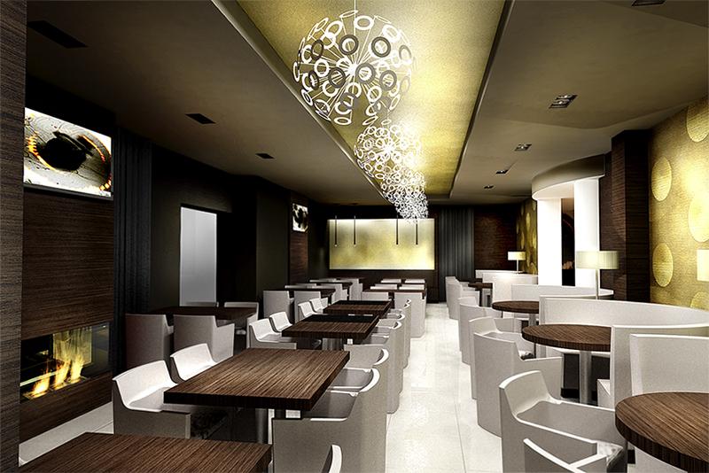Restaurant View 02. The Golden Club Restaurant & Dance design by Somerset Harris