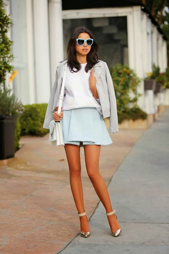 baby blue sunglasses and skirt