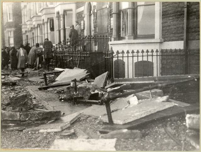 N. end of Marine Terrace, Aberystwyth. Effects of storm of Oct. 28th, 1927.