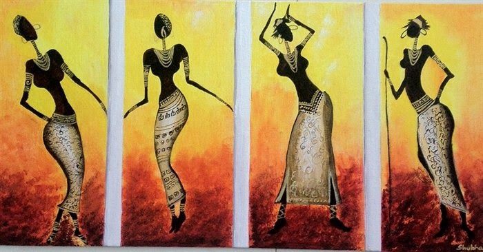 Abstract Art African Women Dance painting
