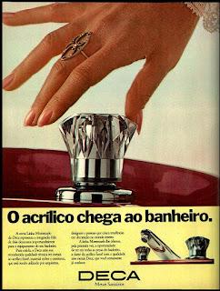 metais sanitários, pia, torneira, banheiro, os anos 70; propaganda na década de 70; Brazil in the 70s, história anos 70; Oswaldo Hernandez;