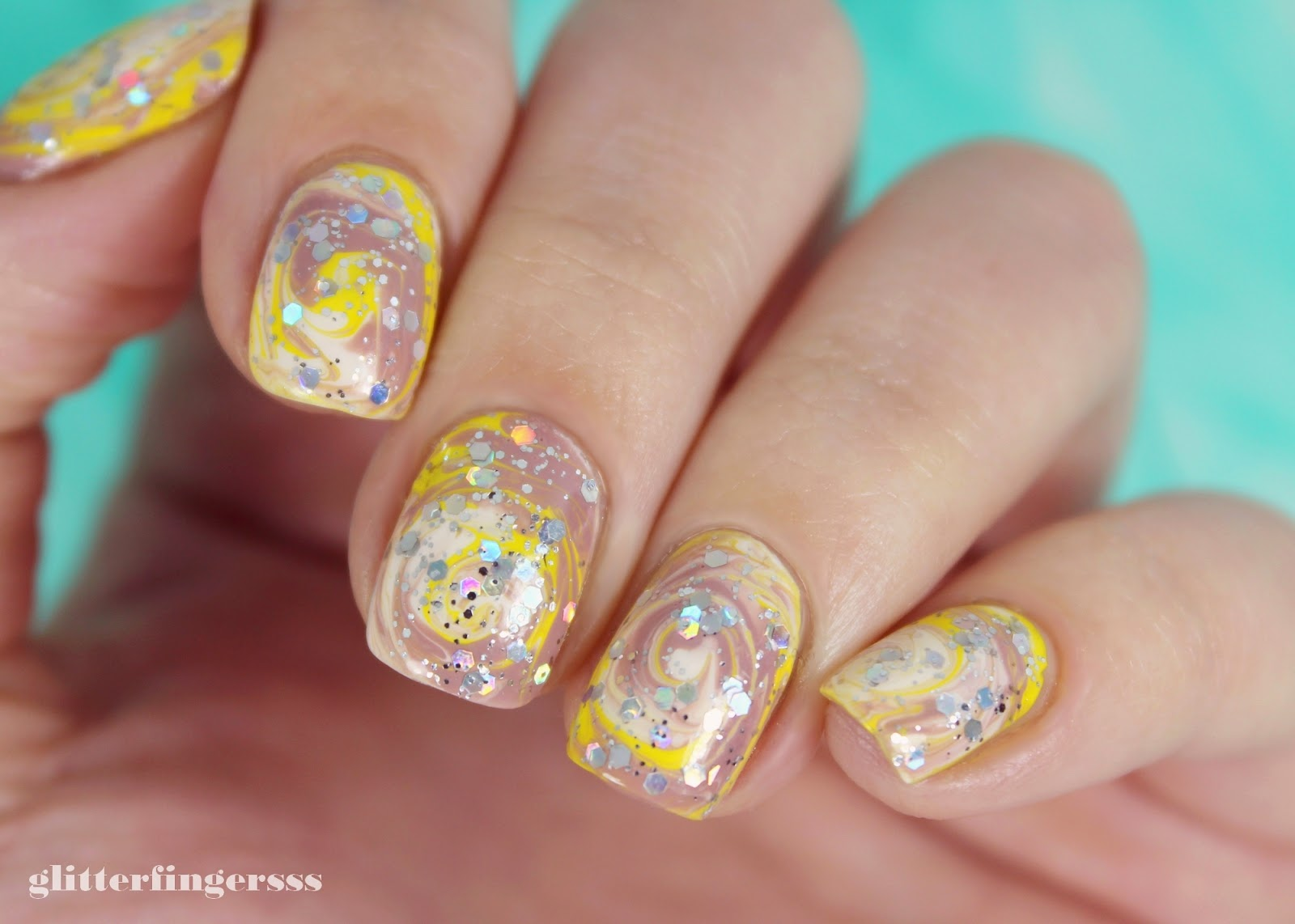 NAIL ART | Dry marble ~ Glitterfingersss in english