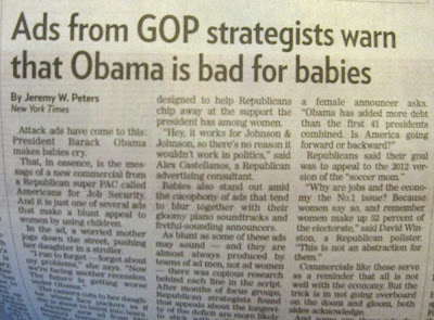 Newspaper article with headline Ads from GOP strategists warn that Obama is bad for babies
