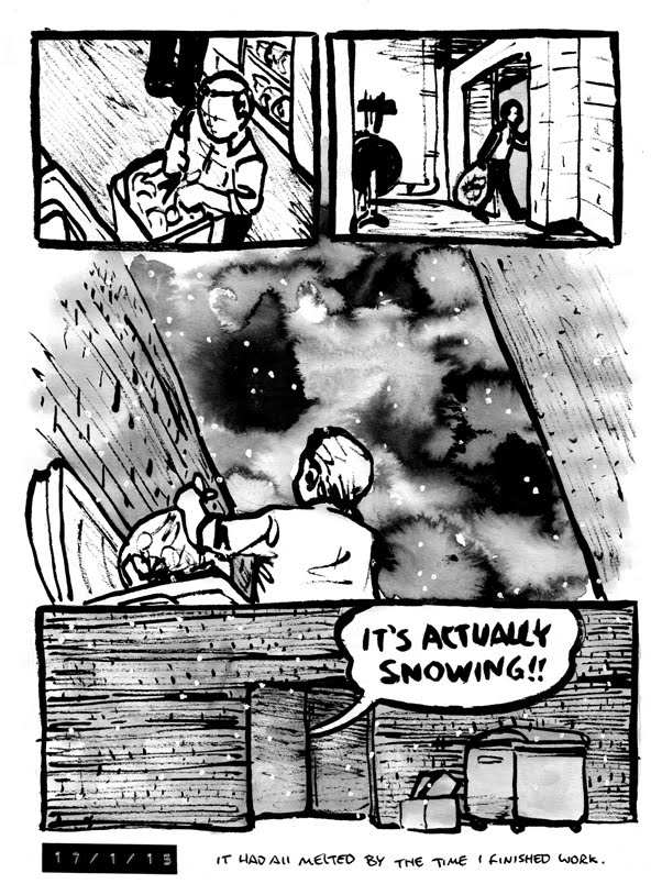 Comic where Alex is taking out the trash and is pleased to find it snowing lightly outside in the bin area.