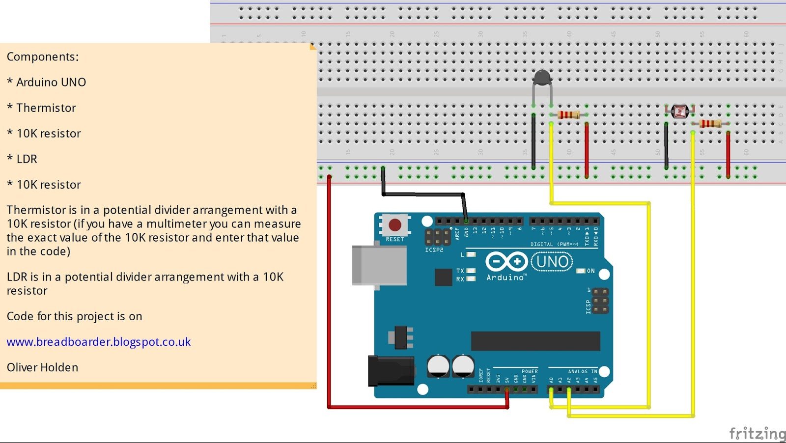 Breadboarders  Arduino With A Thermistor And Ldr To Get Temperature And Light Value
