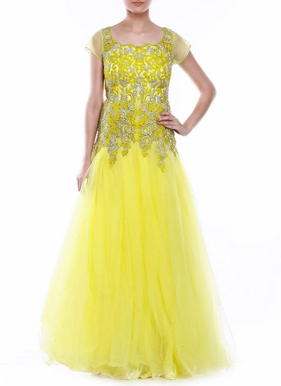 South Asian Yellow Anarkali Style Gown For Girls