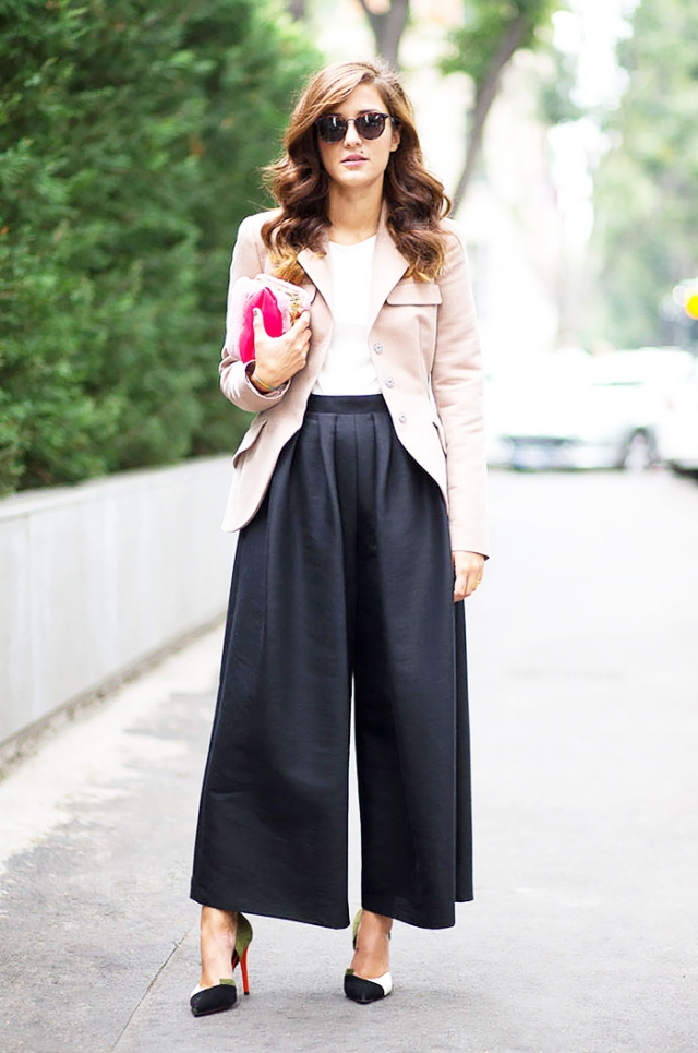 long culottes outfit combination