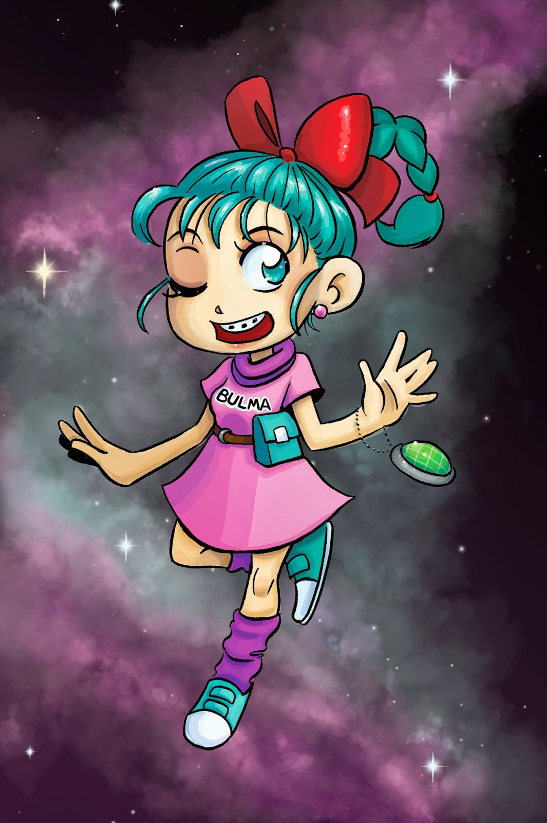 Bulma Briefs, digital coloring, digital art, Nattosoup, coloring with the Surface Pro 3, Becca Hillburn