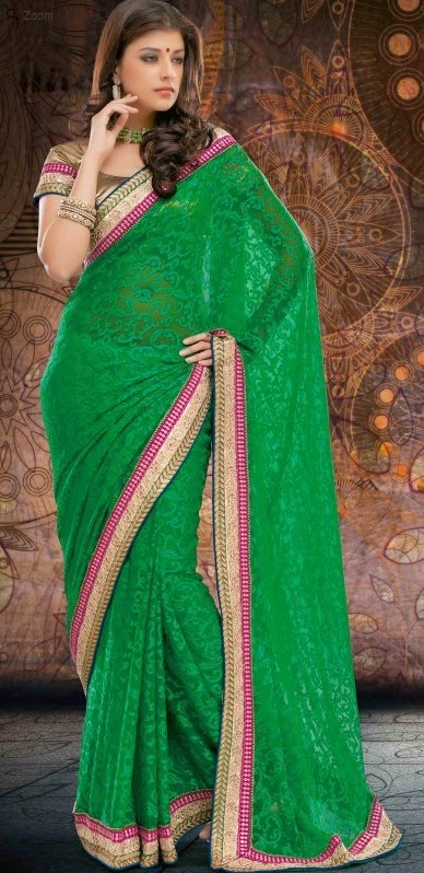 Brasso Green Designer Embroidery Saree with Unstitched Blouse