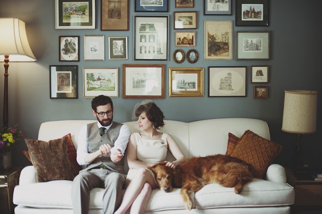 sweet moment from a vintage style home wedding