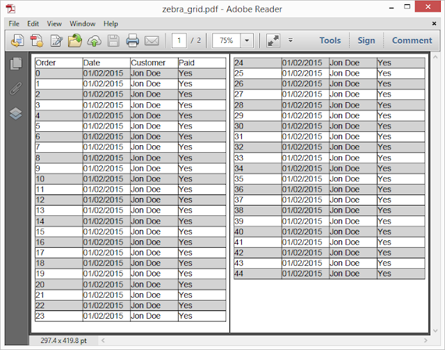Pic. 7 Grid with even rows highlighted (pdf)