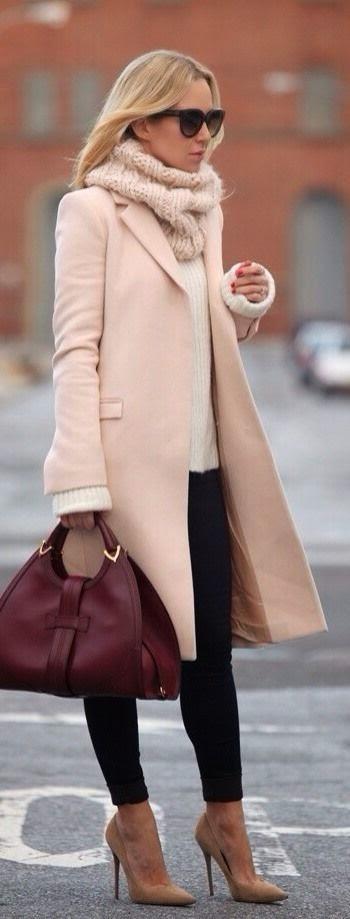 Top Winter Coat and Leather Handbag
