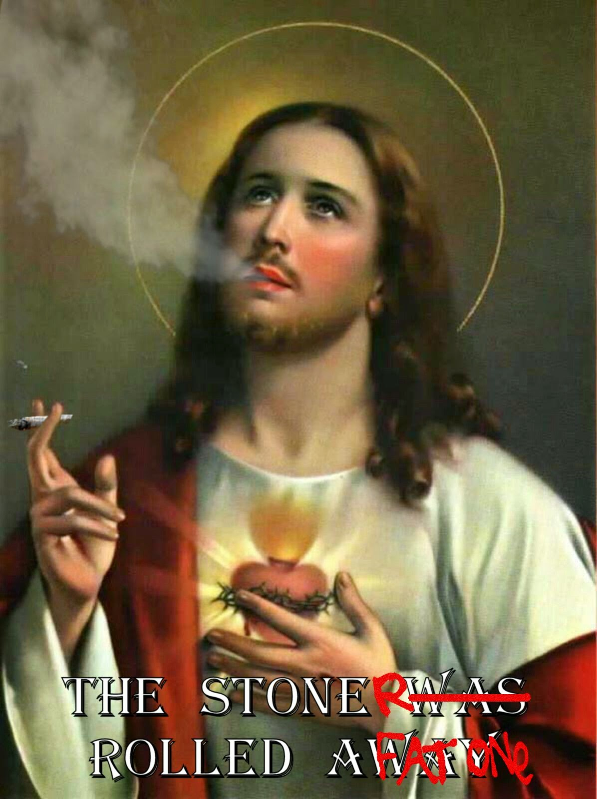 Jesus smoking a joint