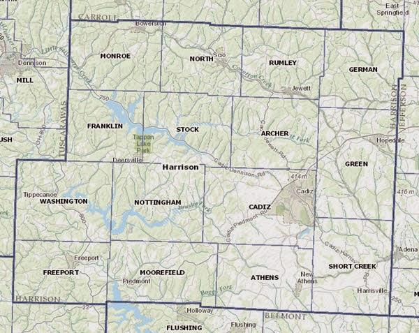 Harrison County Ohio Township Map