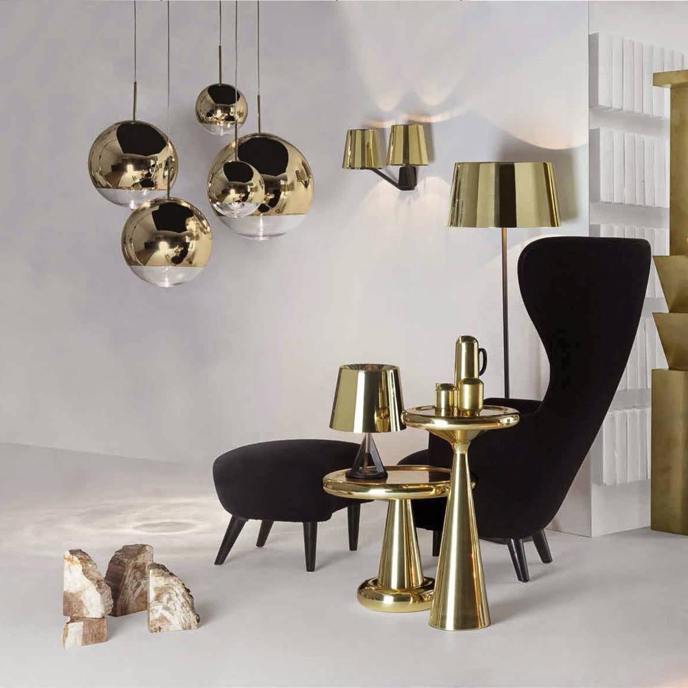tom dixon mirror balls gold, base lights polised brass, spun, wingback