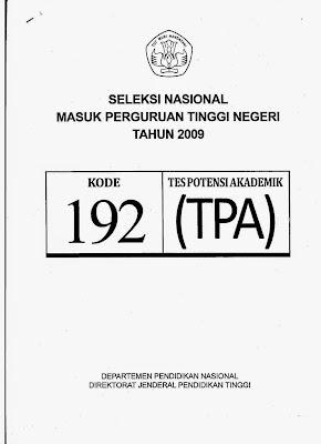 Naskah Soal Snmptn 2009 Tes Potensi Akademik (Tpa) Kode Soal 192