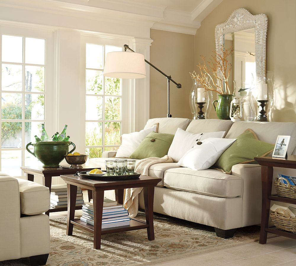 Styleburb family room let the fun begin for Pottery barn style living room ideas