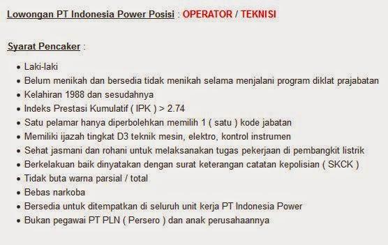 lowongan kerja pt indonesia power di bali