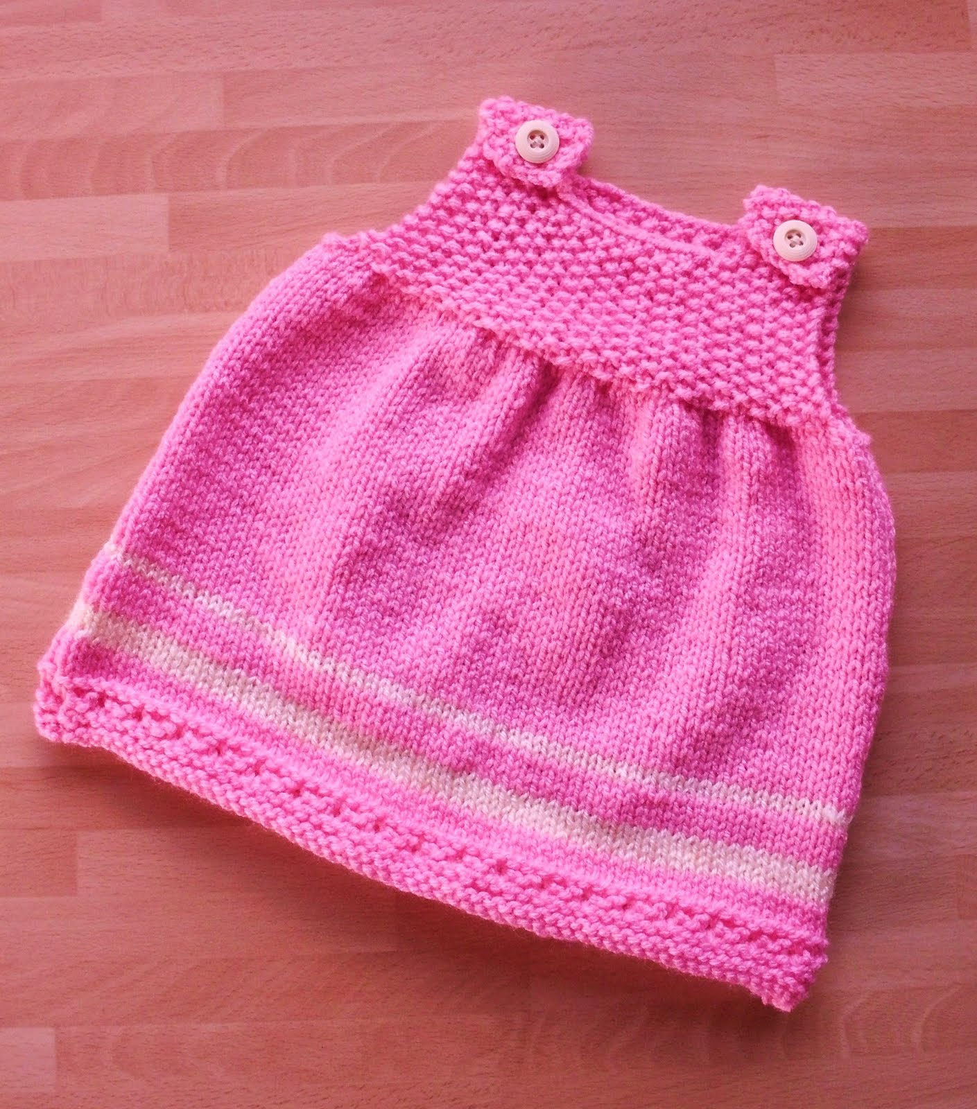 Simple Knit Dress Pattern : Great Balls of Wool: Pretty in pink baby dress...
